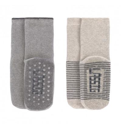 ANTI-SLIP SOCKS 2P GREY/BEIGE 19-22 21